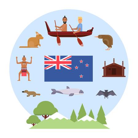 Illustration of New Zealand symbols. New Zealand Waitangi day on the 6th of February. Çizim