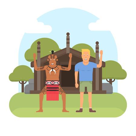 Illustration of New Zealand native inhabitant, Maori with a European on traditional Maoris house background. New Zealand Waitangi day topic. Çizim
