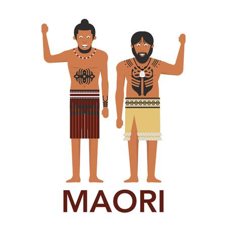 Illustration of New Zealand native inhabitant, Maoris