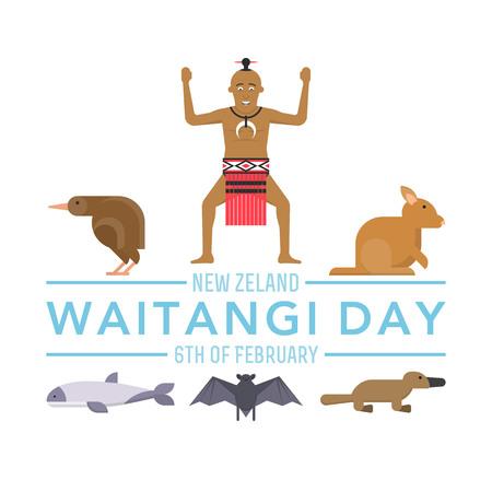 illustration of New Zealand native inhabitant Maori on white background with australian Fauna. New Zealand Waitangi Day the 6th of February . Çizim