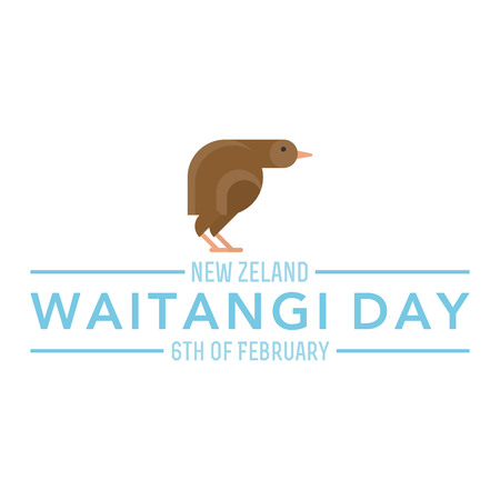 Illustration of a bird on white background. Waitangi Day topic. Çizim