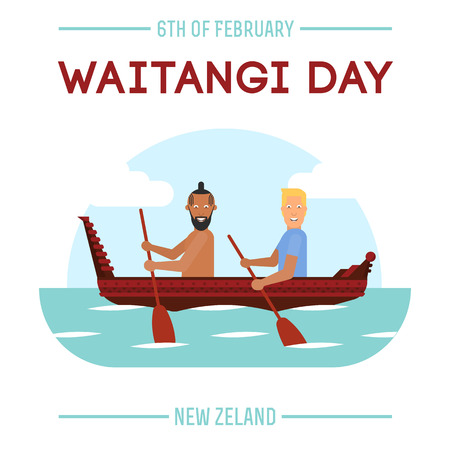 Illustration of New Zealand native inhabitant and British man on a boat for New Zealand Waitangi Day on the 6th of February
