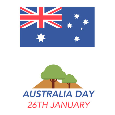 Illustration of the Australian flag and landscape on white background with lettering that concerns the Australia Day on January 26th. Ilustrace