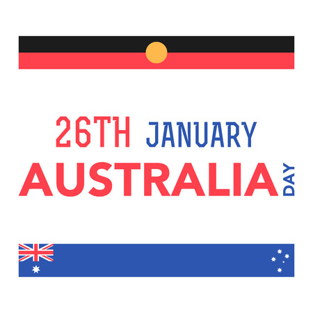 Illustration of the Australian flag in the shape of feather with lettering that concerns to the Australia Day on January 26th. Ilustrace