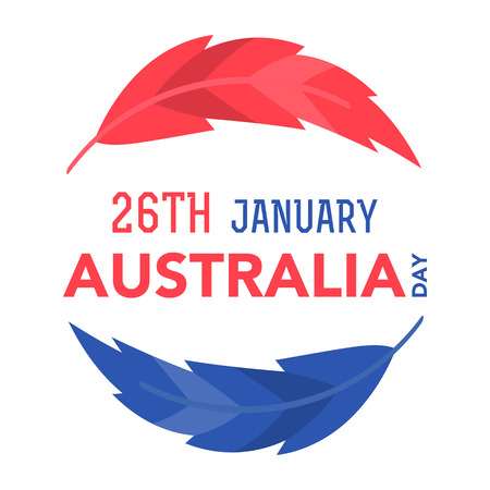 Illustration of the Australian flag colors, feathers with lettering that concerns to the Australia Day on January 26th.