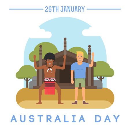 Illustration of the European and the Australian aborigine that is holding the Australian flag in front of traditional aboriginal house for Australia Day on January 26th.