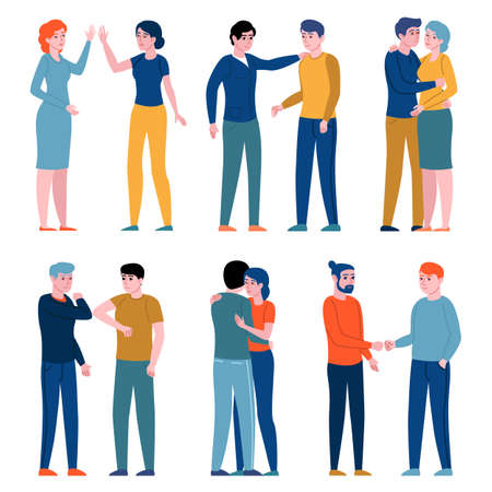 Greeting gestures people. Women and men greeting each other different ways, persons hugging, shake hands, give five, bump elbows. Vector set