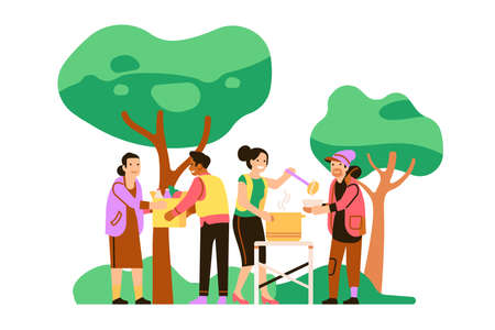 Volunteer support. Food distribution to homeless and needy. Social workers help people. Charity and aid. Activists give food to paupers in park. Free products. Vector volunteering concept Vektorgrafik
