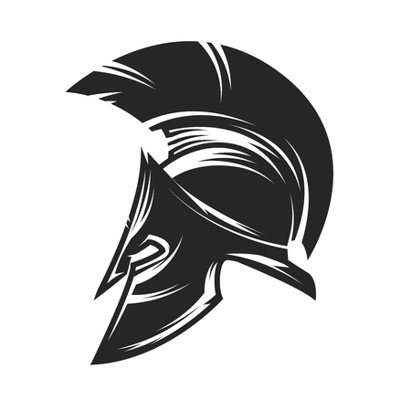 antiquarian: Spartan helmet icon isolated on white background. Vector illustration.