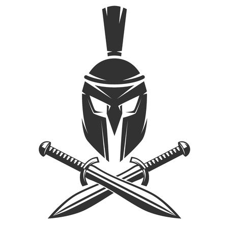 흰색 배경에 고립 된 교차 칼으로 스파르타 헬멧. 벡터 일러스트 레이 션. 일러스트