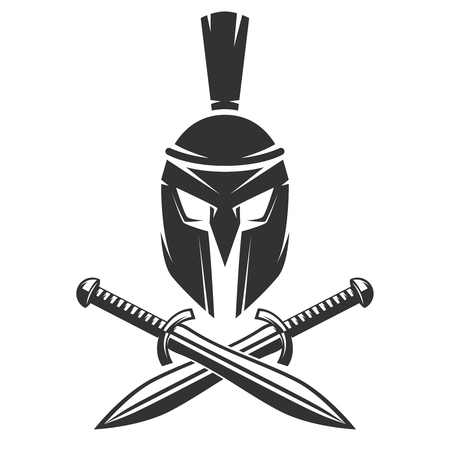 Spartan helmet with crossed swords isolated on white background. Vector illustration.