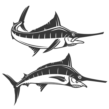 marline: Swordfish icons isolated on white background. Vector illustration. Illustration