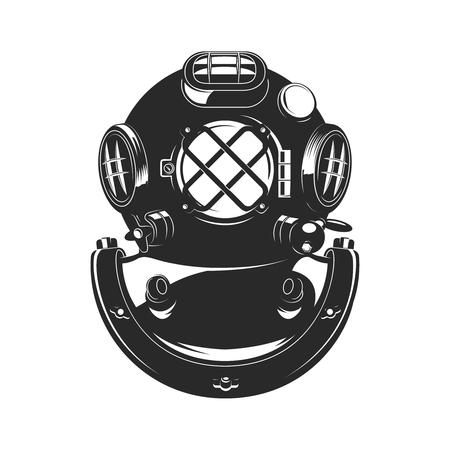 ビンテージ スタイル ダイバー ヘルメットは、白い背景で隔離。バッジ、エンブレムの要素をデザインします。ベクトルの図。