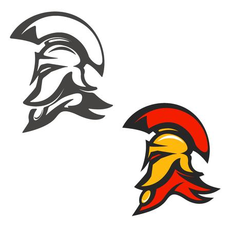 antiquarian: Spartan helmet . Design element, label, sign, brand mark. Vector illustration. Illustration