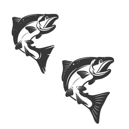 white salmon river: Salmon fish icons isolated on white background. Design element , label, emblem, sign, brand mark. Vector illustration.