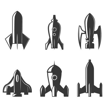 Set of the rockets icons. Design element , label, emblem, sign, brand mark. Vector illustration.