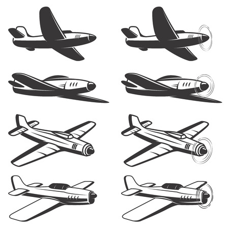 Set of airplane icons isolated on white background. Design elements , label, emblem, sign. Vector illustration