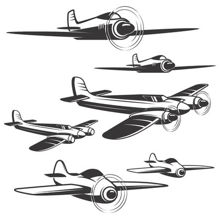 Set of airplane icons isolated on white background. Design elements , label, emblem, sign. Vector illustration