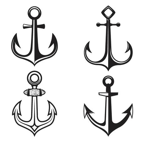 Set of anchors icons isolated on white background. Vector illustration. Illustration