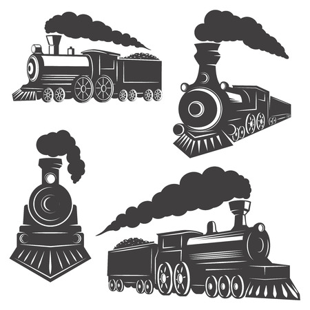 Zestaw ikon pociągów na białym tle. Elementy projektu, etykieta, godło, znak, znak marki. Ilustracji wektorowych.