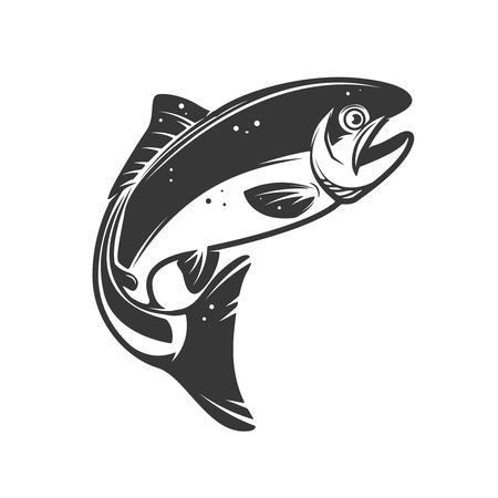 Trout fish icons isolated on white background. Design element , label, emblem, sign, brand mark. Vector illustration.