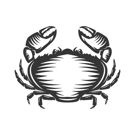 Crab icon isolated on white background. Design elements  label, emblem, sign, brand mark. Vector illustration. 向量圖像