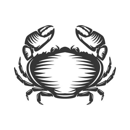 Crab icon isolated on white background. Design elements  label, emblem, sign, brand mark. Vector illustration. Illusztráció