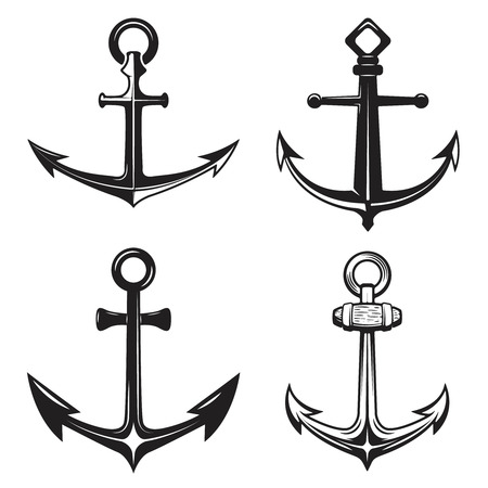 stability: Set of anchors icons isolated on white background. Vector illustration. Illustration