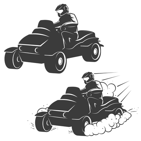 accelerating: Set of quad bike with driver icons isolated on white background. Design elements, label, emblem, sign, brand mark, poster. Vector illustration.