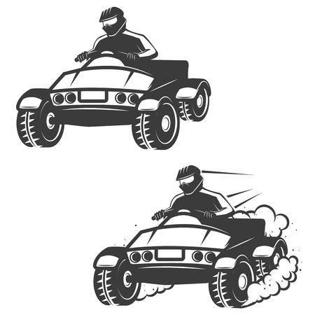 Set of quad bike with driver icons isolated on white background. Design elements , label, emblem, sign, brand mark, poster. Vector illustration. Illustration