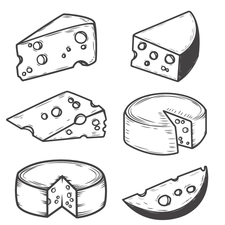 Set of cheese icons isolated on white background. Design elements for restaurant menu, poster. Vector illustration. Çizim