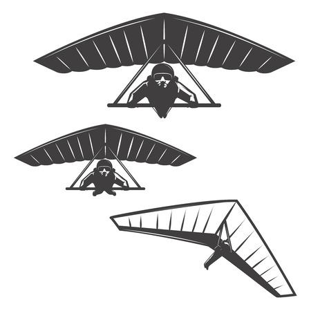 Set of deltaplan icons isolated on white background. Design elements , label, emblem, sign, brand mark, poster. Vector illustration.