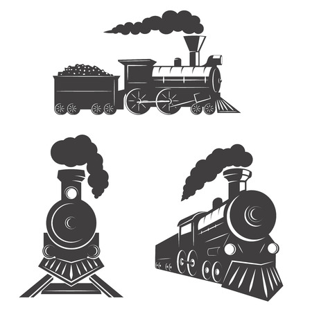 Set of trains icons isolated on white background. Design elements for label, emblem, sign, brand mark.