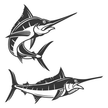 Conjunto de ilustración de pez espada aislado sobre fondo blanco. Icono de Marlin. Elementos de diseño para la etiqueta, emblema, signo, marca de fábrica.