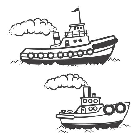 Conjunto de remolcador ilustración aislado sobre fondo blanco. Icono del barco. Elementos de diseño, etiqueta, emblema, signo, marca de fábrica. Ilustración del vector.