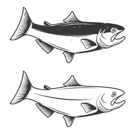 Trout fish icons isolated on white background. Design element for logo, label, emblem, sign, brand mark. Vector illustration.