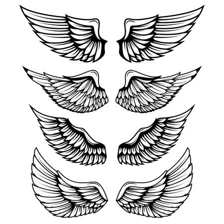 Uitstekende vleugels die op witte achtergrond worden geïsoleerd. Ontwerpelementen, label, embleem, teken, merkmarkering. Vector illustratie.