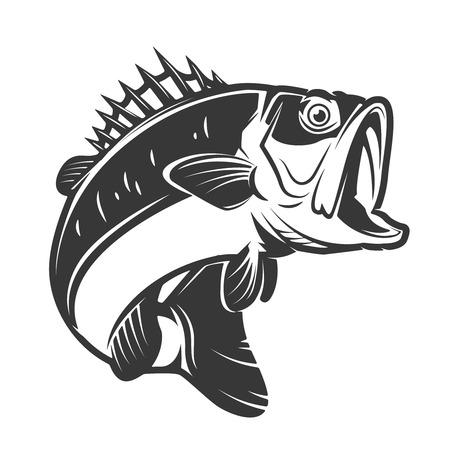 ベース魚、白い背景で隔離のアイコンです。ラベル、エンブレム、サイン、ブランド マークの要素をデザインします。