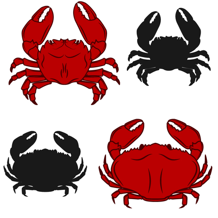 Set of crab icons isolated on white  background. Seafood. Design elements for label, emblem, sign, brand mark.