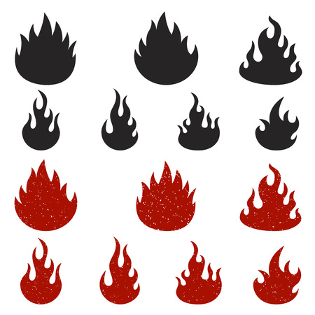 Set of fire icons isolated on white background.