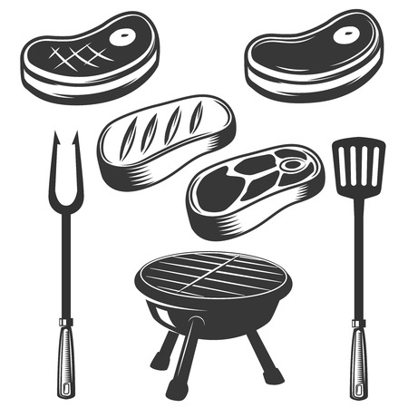 Grill, raw meat, grilled meat, fire. Design elements for menu, label, emblem, sign, brand mark, poster.