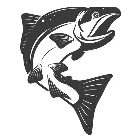 サーモンのアイコンは、白い背景で隔離。魚介類。メニューのポスター、紋章、記号の要素をデザインします。  イラスト・ベクター素材
