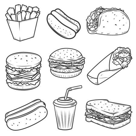 ホットドッグ、ハンバーガー、タコス、サンドイッチ、ブリトー。白い背景に分離されたファーストフードのアイコンのセットです。ラベル、エン