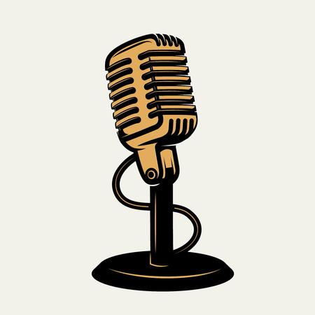Icono del micrófono de la vendimia aislado en el fondo blanco. Elementos de diseño para el cartel, emblema, signo. Ilustración de vector