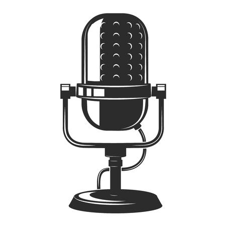 vintage microphone icon isolated on white background. Design elements for poster, emblem, sign. Ilustração