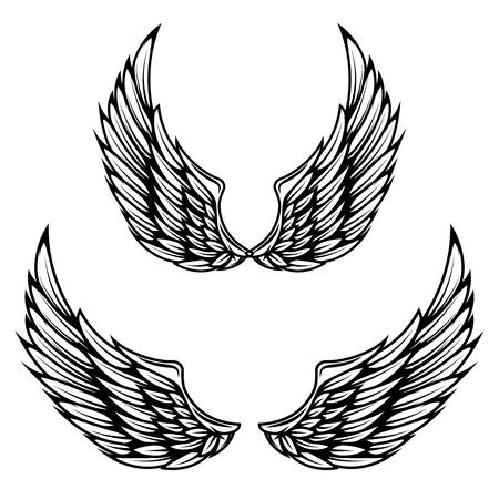 Vintage wings isolated on white background. Design elements for label, emblem, sign, brand mark. Ilustração
