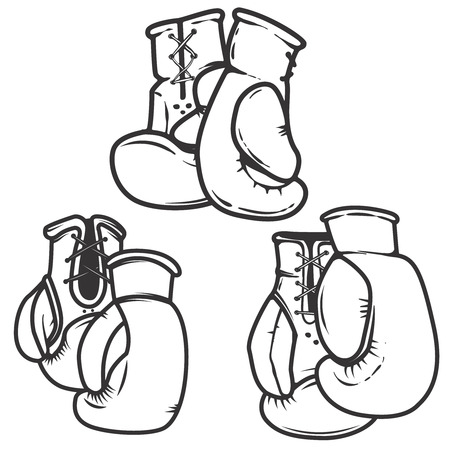 Set of  the boxing gloves icons isolated on white background. Design elements for label, emblem, sign, poster.