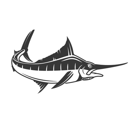 marline: Swordfish icon isolated on white background. Illustration