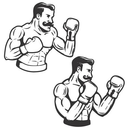 レトロなスタイルのボクサーの図のセットです。  イラスト・ベクター素材