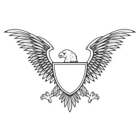 Aigle avec un bouclier isolé sur fond blanc. Élément de conception pour emblème, badge. Banque d'images - 72781657